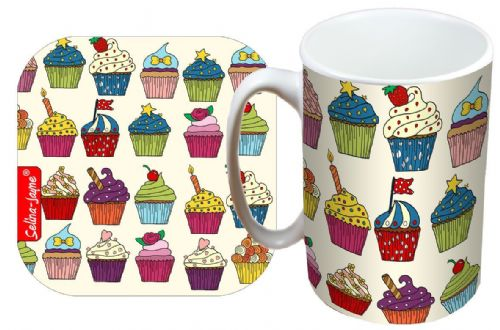 Selina-Jayne Cupcakes Limited Edition Designer Mug and Coaster Gift Set